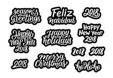 Citationstecken för garnering 2018 för jul och för nytt år stock illustrationer