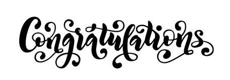 Citationstecken för lyckönskanhandbokstäver Hand dragit modernt ord för borstekalligraficongrats Vektortextillustration royaltyfri illustrationer
