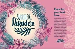 Citationstecken för tid för sommar för vektorhand som utdraget märker illustrationen med tropiska beståndsdelar royaltyfri illustrationer