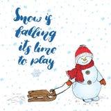 Citationstecken för vintersäsongbokstäver om snö Handskrivet kalligrafitecken Räcka den utdragna vektorillustrationen med snögubb Fotografering för Bildbyråer