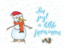 Citationstecken för vintersäsongbokstäver om snö Handskrivet kalligrafitecken Räcka den utdragna vektorillustrationen med snögubb Arkivbilder