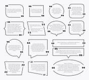 Citationsteckenaskar Design för kostnadsförslagsatsask, kommentar för idéavsnittfläckar som dömer omnämnandebeskrivningsbubblor m royaltyfri illustrationer