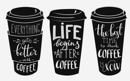 Citationsteckenbokstäver på uppsättning för form för pappers- kopp för kaffe stock illustrationer