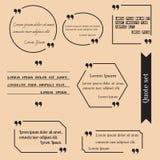 Citationsteckenramar för textgarnering Arkivbilder