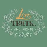 CitationsteckenVoltaire Love sanning och nådfel Arkivbild