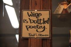 Citazione circa vino Fotografia Stock