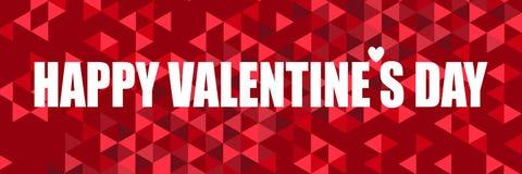 Citazione d'ispirazione con il giorno di biglietti di S. Valentino felice di parola su un fondo astratto con i triangoli variopin illustrazione di stock