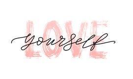 Citazione di amore voi stessi Parola singola Illustrazione moderna di vettore della stampa del testo di calligrafia in bianco e n illustrazione di stock