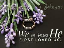Citazione di matrimonio dal verso della bibbia per esprimere il vostri amore e passione da Dio immagine stock libera da diritti