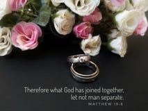 Citazione di matrimonio dal verso della bibbia per esprimere il vostri amore e passione da Dio fotografie stock libere da diritti
