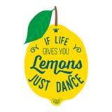 Citazione di motivazione circa i limoni Immagine Stock