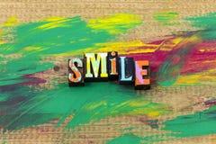 Citazione felice sorridente dello scritto tipografico di espressione della gente di emozione di sorriso immagini stock libere da diritti