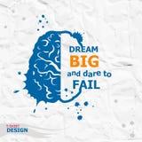 Citazione motivazionale ispiratrice Grande di sogno e sfida da venire a mancare Immagine Stock
