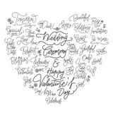 Citazioni calligrafiche di nozze buone nella forma del cuore royalty illustrazione gratis