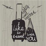 Citazioni di ispirazione di viaggio dell'illustrazione sulla siluetta della valigia V Fotografia Stock Libera da Diritti