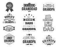 Citazioni isolate dei nonni sui precedenti bianchi Etichetta di congratulazione del nonno, raccolta di vettore del distintivo gra Fotografia Stock Libera da Diritti
