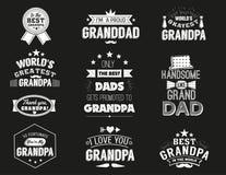 Citazioni isolate dei nonni sui precedenti neri Etichetta di congratulazione del nonno, raccolta di vettore del distintivo grandd Fotografia Stock