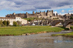Cite de Carcassonne from the Aude river Stock Photography