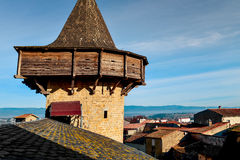 Cite de Carcassonne, in Carcassone, France. A view of a tiled roof walls and a tower of the Cite de Carcassonne, in Carcassone, France stock image