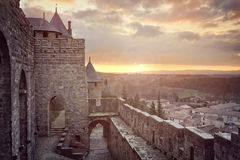 Cite de Carcassonne, France. Cite de Carcassonne, medieval walled fortress city in the Languedoc region of France Royalty Free Stock Photo