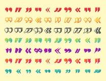 Cite el símbolo de la marca de cita del vector de la citación de la cita del símbolo del diálogo de la burbuja del mensaje del co Imagenes de archivo