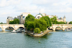 Cite island  and bridge Neuf view. Ile de la Cite, Paris Royalty Free Stock Photo