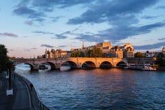 Cite Island and Bridge on Seine River stock images
