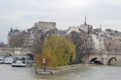 Cite island in Paris. Embankment of the river Seine, France. Black and white stock image