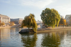 Cite island in Paris, France. Seine river and Cite island in Paris, France stock photography