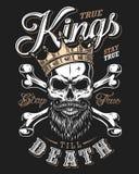Cite la tipografía con el cráneo blanco y negro del rey en corona de oro con la barba stock de ilustración