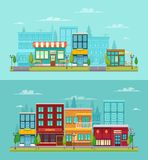 Cite Street Cafe Banners Set. City street view 2 flat horizontal banners set with bistro restaurant bar and cafe isolated vector illustration Royalty Free Stock Images