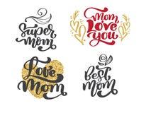Citerar den lyckliga bokstäver för uppsättningen för moderdagen dragen handen Design för vektort-skjorta eller vykorttryck, hand  vektor illustrationer