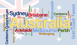 Cites of Austratlia wordcloud Stock Photography