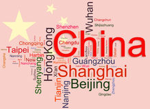 Cites of China wordcloud. Wordcloud representing cities of china on its flag background. The emphasis given to cities with large population Stock Images