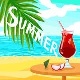 Citez l'été des textes et le jus rouge alcoolique de cocktail - affiche brillante de vecteur de la publicité Image libre de droits