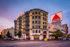 The Citgo Sign at Kenmore Square at sunset, in Boston, Massachus Stock Photo
