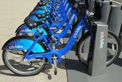 Citi自行车驻地准备好事务在纽约 免版税库存照片