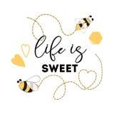 """Citi """"la vita è """"frase stampabile dolce di logo del cuore del segno di Honey Bee Positive royalty illustrazione gratis"""