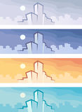 Citi backgrounds. Four backgrounds with city buildings Stock Photography