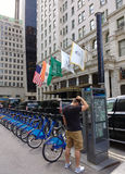 Citi Bike Bicycle Sharing System, The Plaza Hotel, Midtown, Manhattan, NYC, NY, USA royalty free stock images