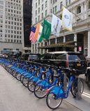 Citi Bike Bicycle Sharing System, The Plaza Hotel, Midtown, Manhattan, NYC, NY, USA Stock Photo