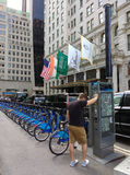 Citi Bike Bicycle Sharing System, The Plaza Hotel, Midtown, Manhattan, NYC, NY, USA royalty free stock photos