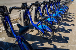 Citi Bike in NYC. New York City, USA - February 10, 2014: Citi Bike is New York City's bike sharing system on February 2014. Intended to provide people with an Stock Photography