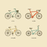 Citi bike, road bike, trekking bike, freestyle bike vector icons. Vintage color elements Royalty Free Stock Photography