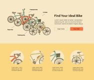 Citi bike, road bike, trekking bike, freestyle bike web banner. Royalty Free Stock Images