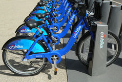 Citi bike station ready for business in New York Royalty Free Stock Photos