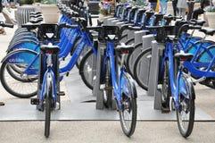 Citi cykelstation i Manhattan Arkivfoton