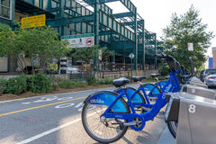 Citi-Fahrrad in der Long- Islandstadtu-bahnstation Lizenzfreies Stockbild