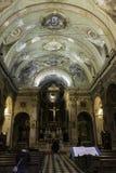 Citia Alta, binnenscène met geschilderde decoratieve plafonds in oude stad van historisch Bergamo stock foto's