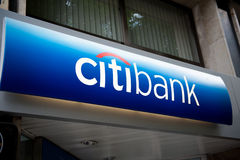 Citibank - σύστημα σηματοδότησης έδρας στην Ισπανία Στοκ Εικόνα